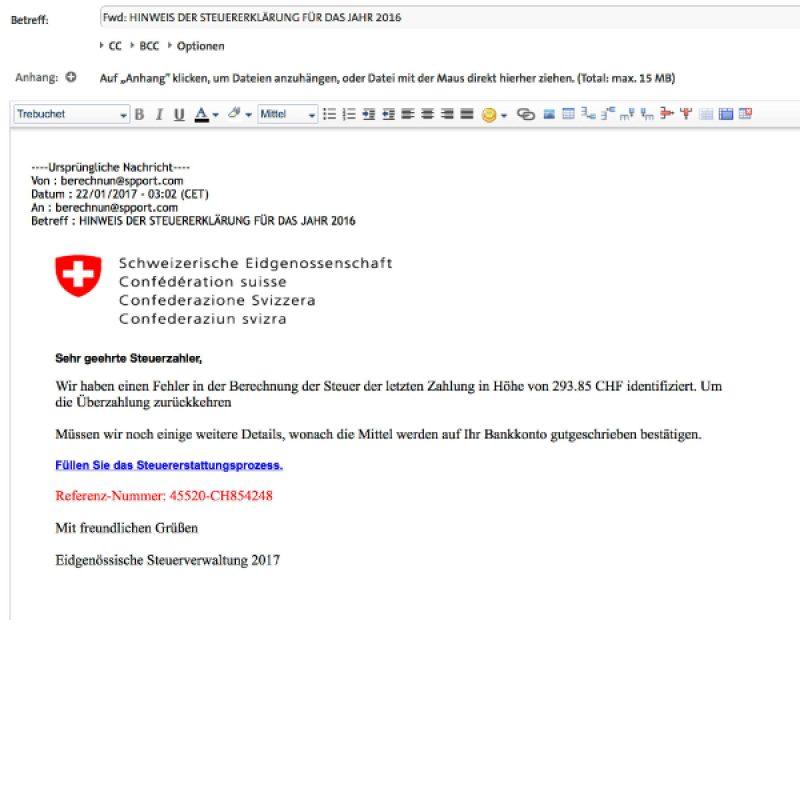 Phishing E-Mail der Steuerverwaltung